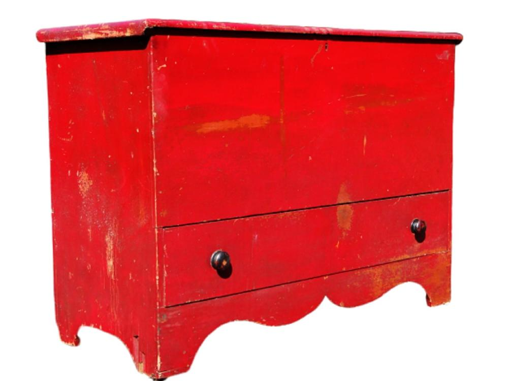 19TH C RED PAINTED BLANKET CHEST