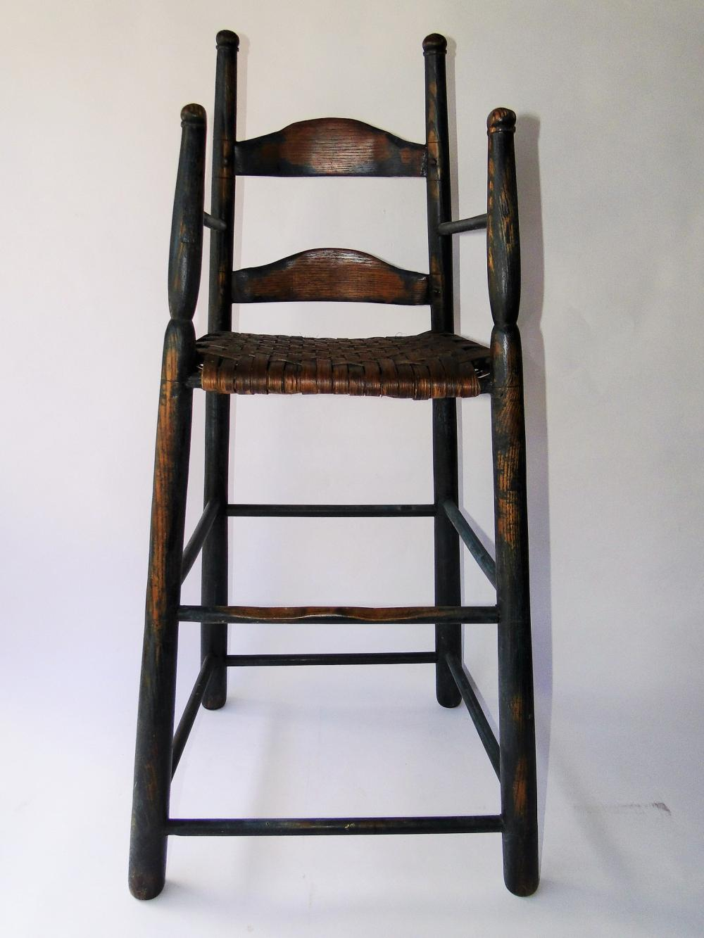 18TH C BLUE PAINTED HIGH CHAIR