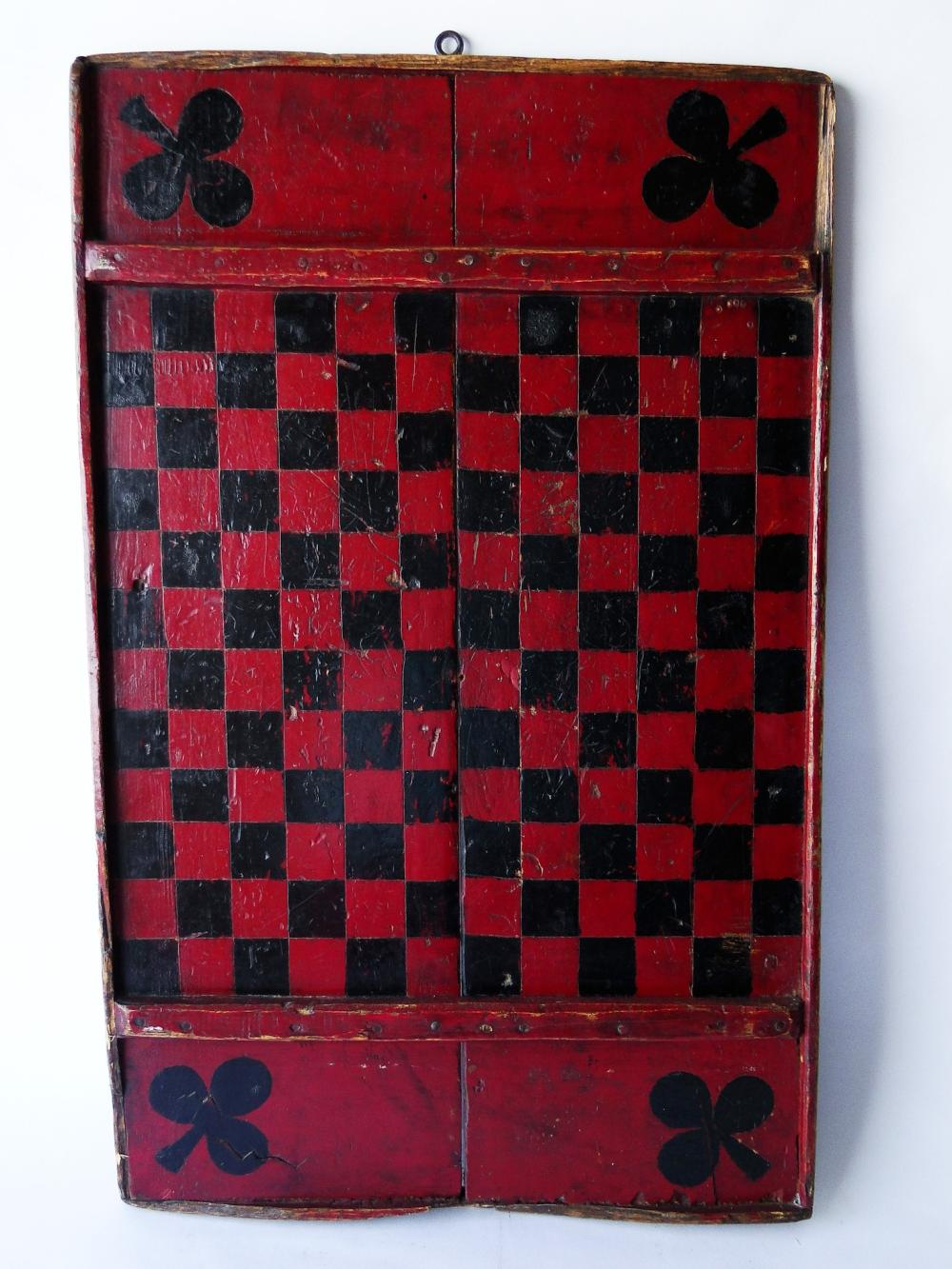 19TH C PAINTED GAME BOARD