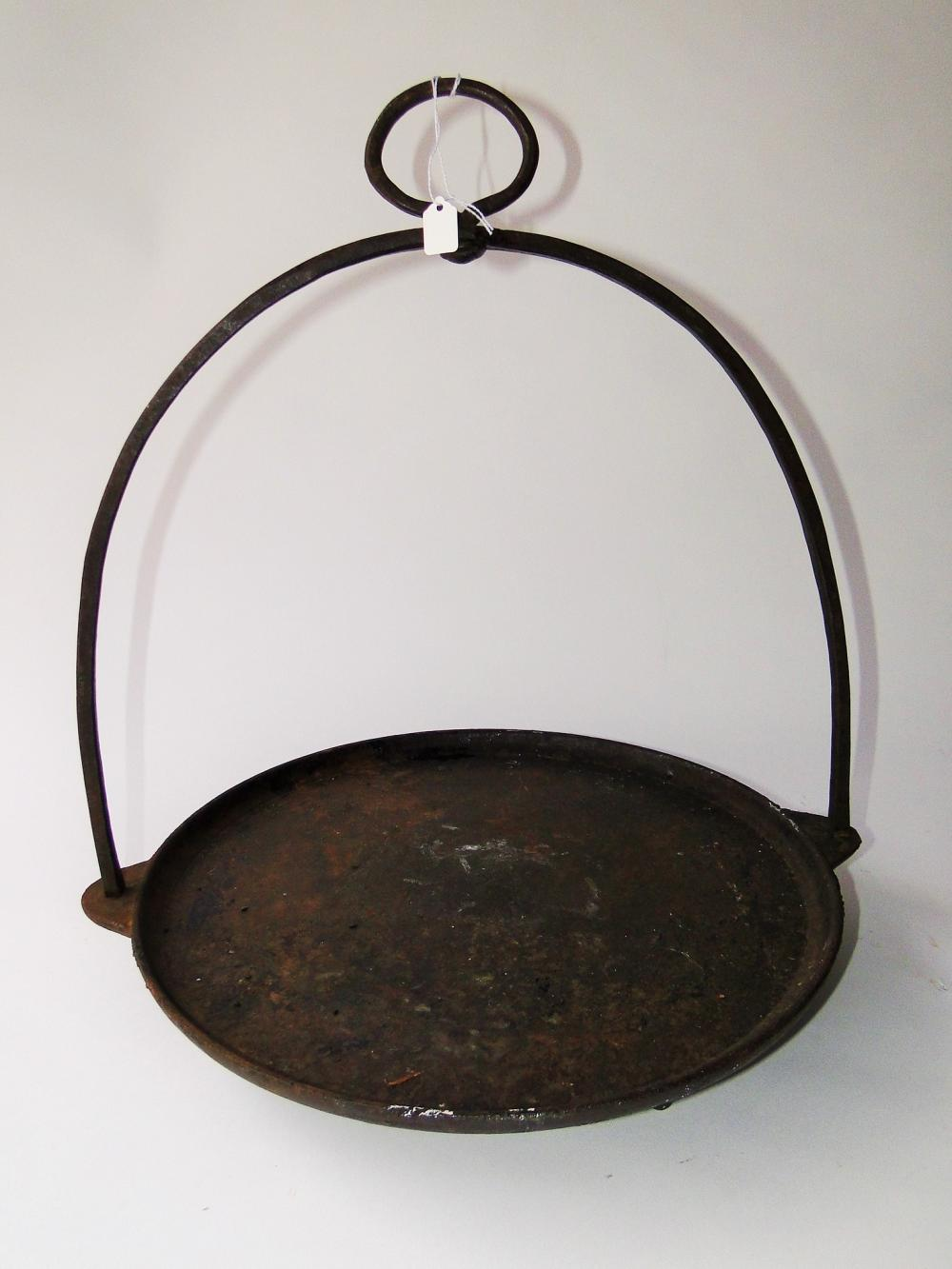 19TH C CAST IRON GRIDDLE