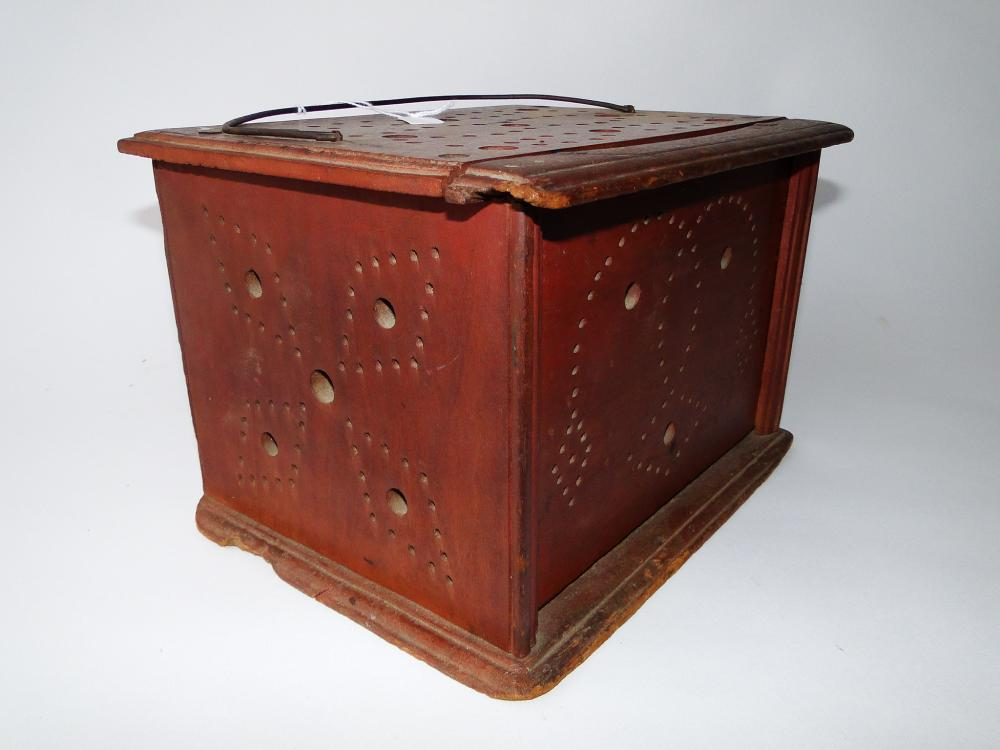 19TH C PIERCED TIN FOOT WARMER