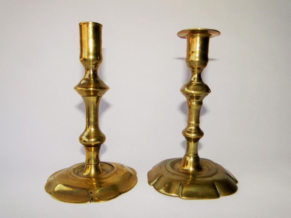 TWO 18TH C QUEEN ANNE CANDLESTICKS
