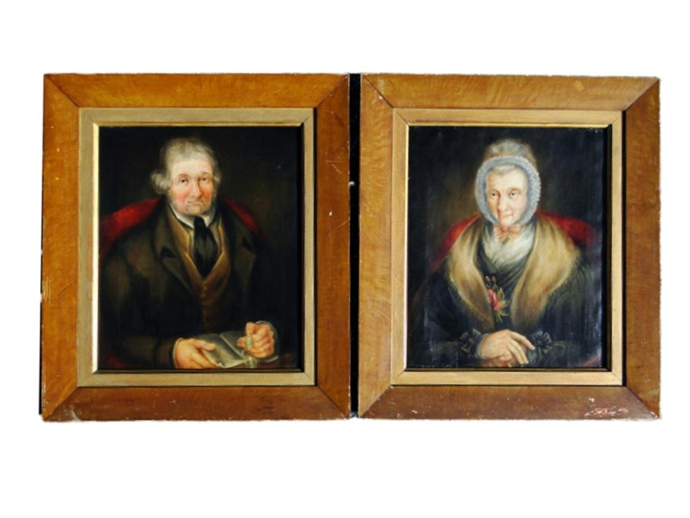 PAIR 18TH C PRIMITIVE PORTRAITS