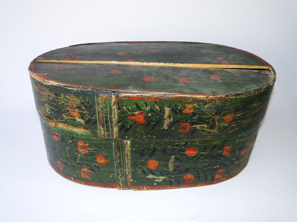 19TH C GERMAN PAINTED BRIDES BOX