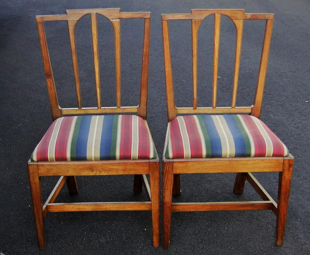 RARE PAIR HEPPLEWHITE SIDE CHAIRS