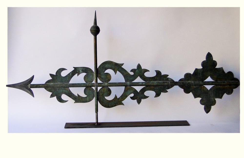 19TH C MONUMENTAL BANNER WEATHERVANE