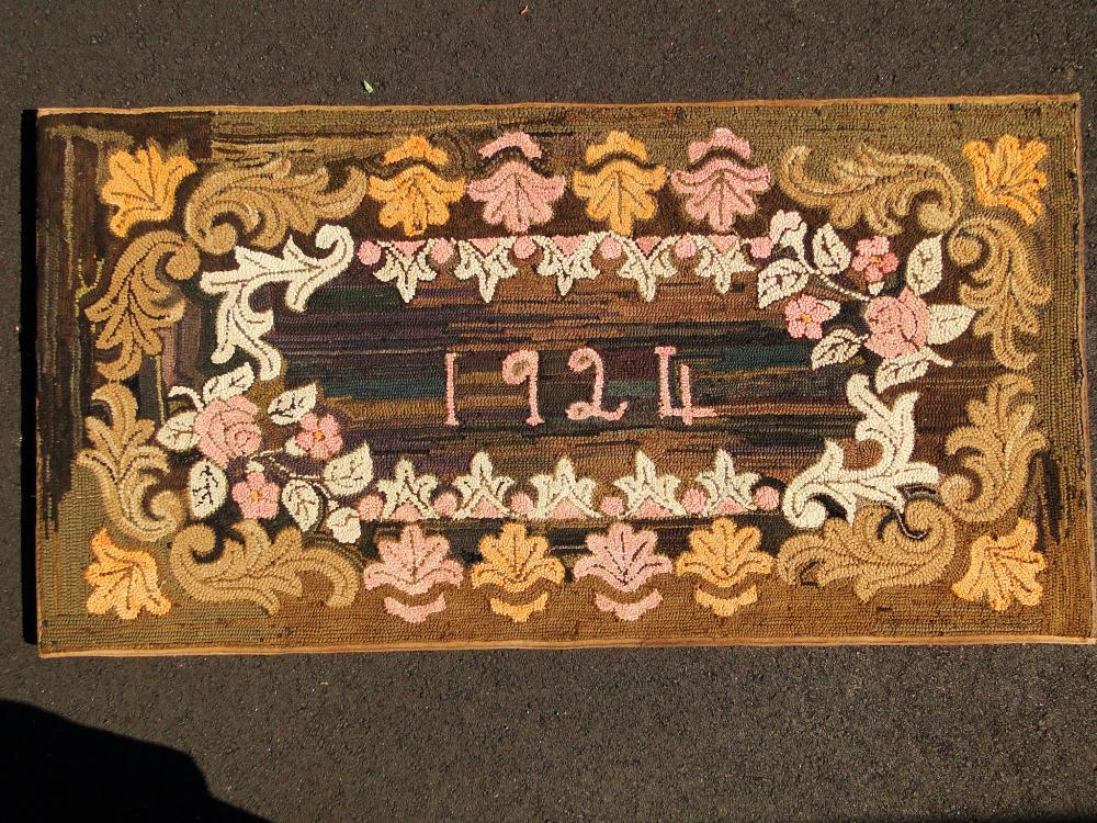 FOLK ART DATED HOOKED RUG
