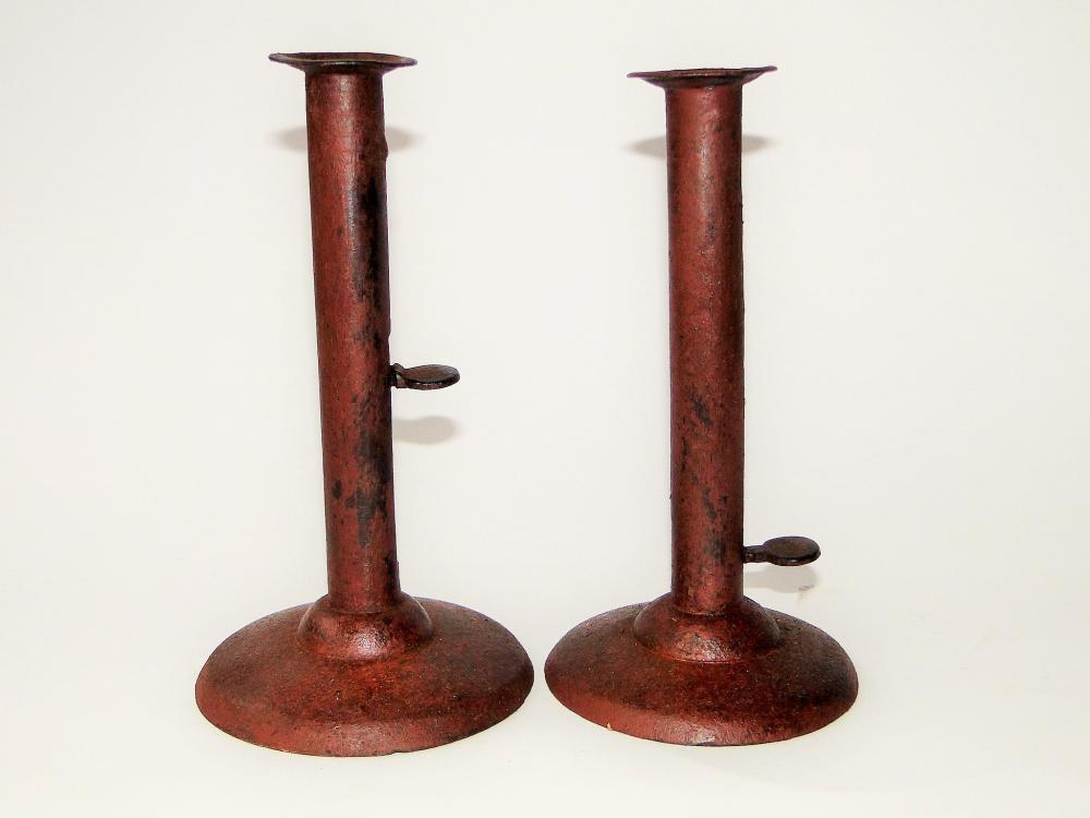 PAIR 19TH C PAINTED HOGSRAPER CANDLESTICKS