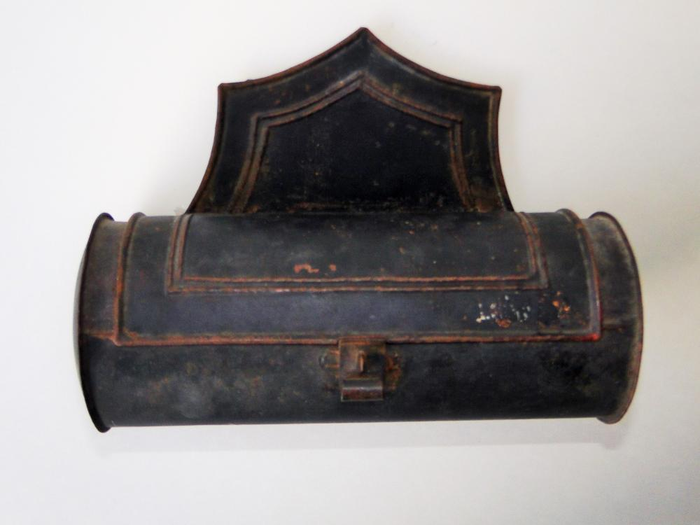 19TH C HANGING TIN CANDLE BOX