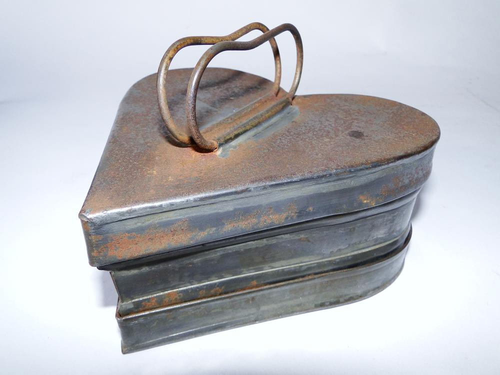RARE 19TH C HEART SHAPED TIN BOX
