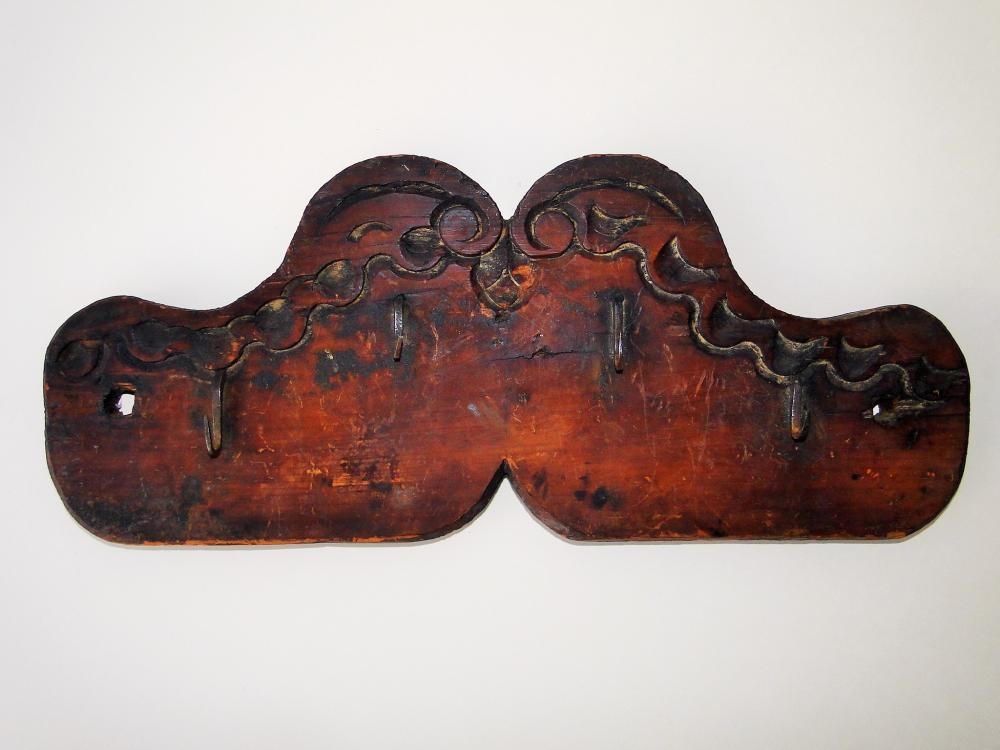 19TH C CARVED WOOD WALL RACK