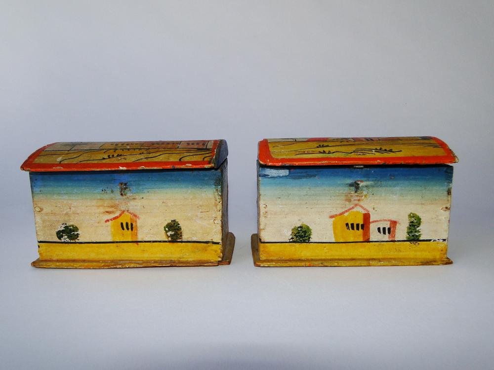 RARE MATCHED PAIR PA DECORATED BOXES