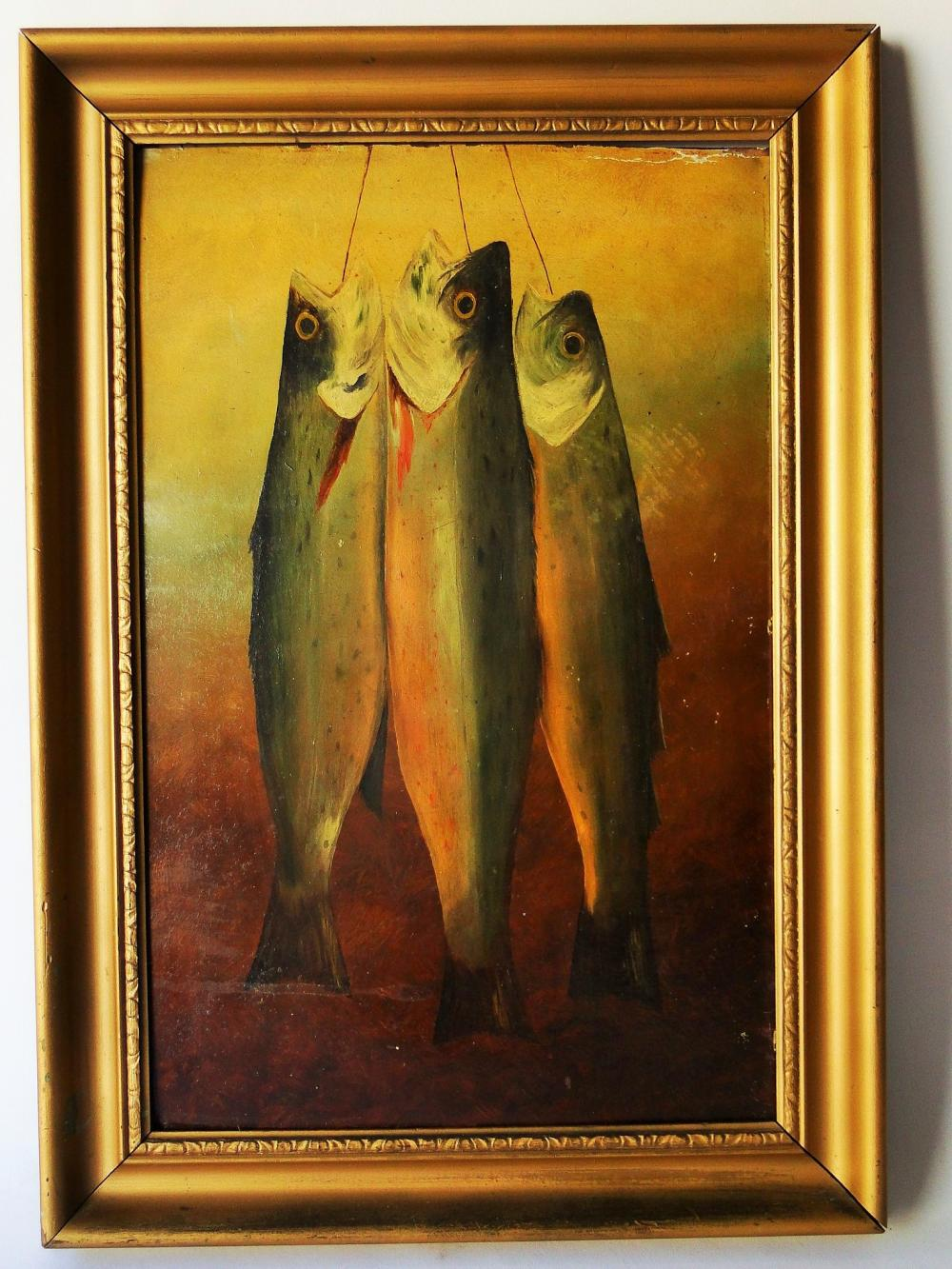 19TH C O/B FISH PAINTING