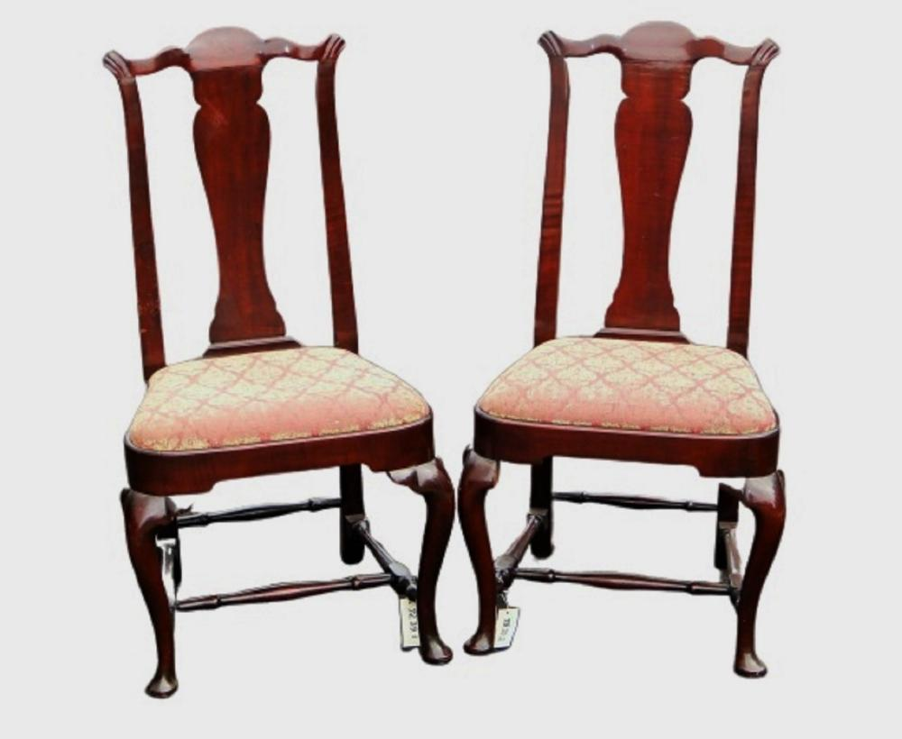 TWO 18TH C QUEEN ANNE TRANSITIONAL SIDE CHAIRS