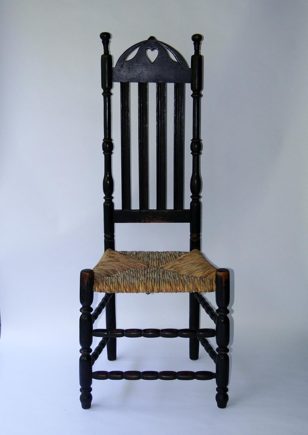 18TH C PAINTED HEART AND CREST SIDE CHAIR
