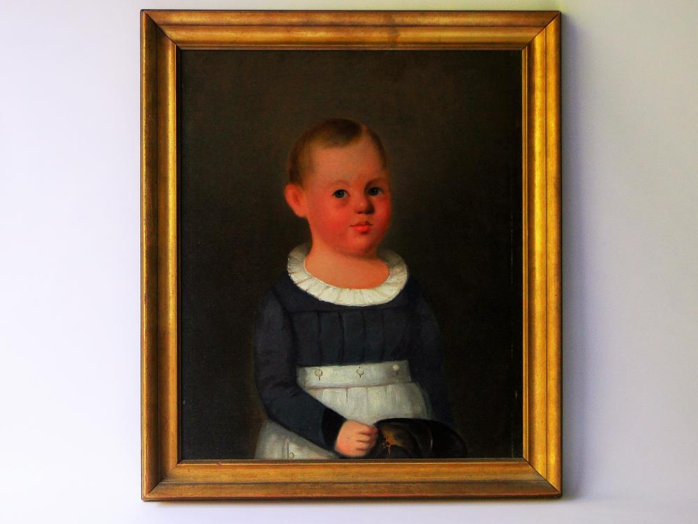 18TH C PORTRAIT PAINTING OF A CHILD