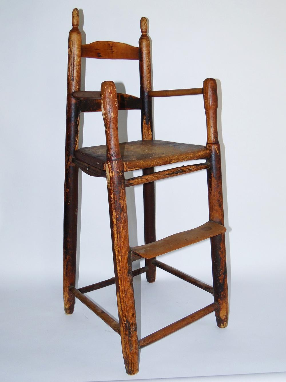 18TH C EARLY AMERICAN HIGH CHAIR