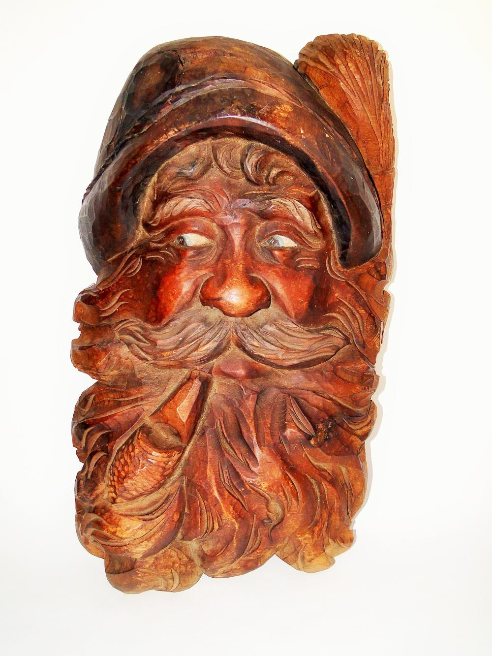 BLACK FOREST HAND CARVED GNOME FACE