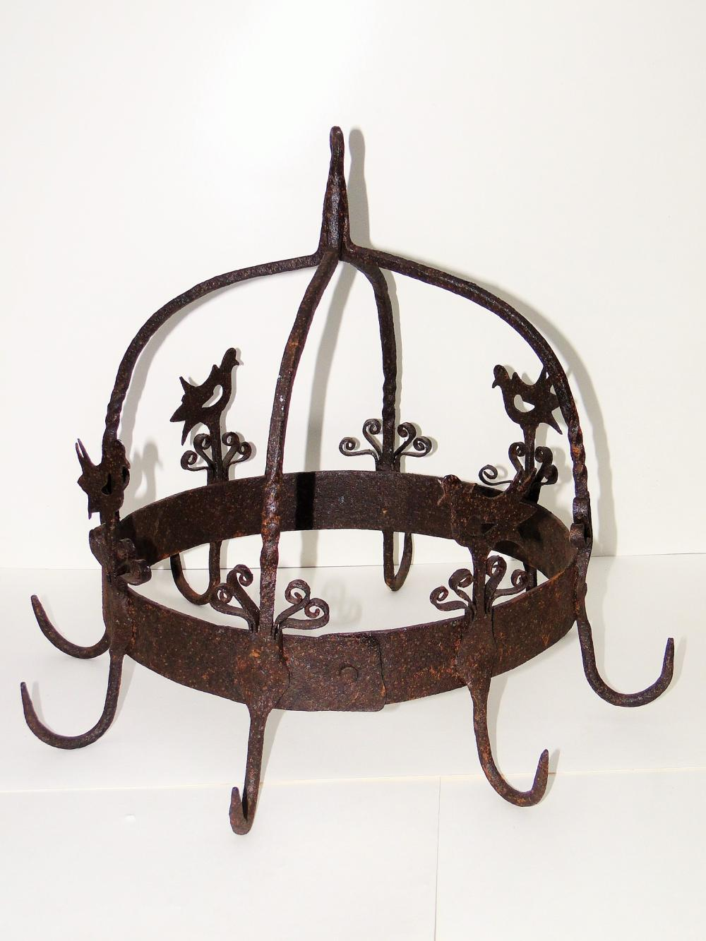 19TH C PA WROUGHT IRON HANGING RACK