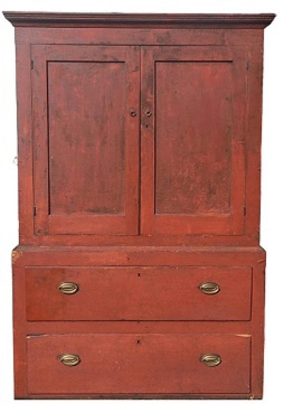 19TH C SALMON PAINTED LINEN PRESS