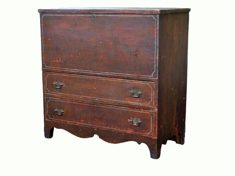 19TH C TWO DRAWER DECORATED MULE CHEST