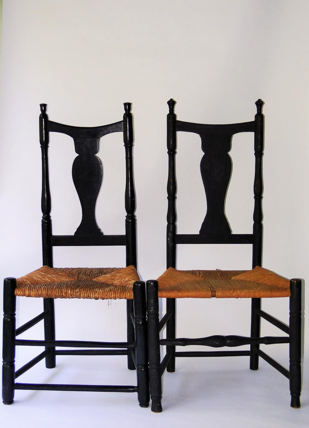 PAIR 18TH C QUEEN ANNE SIDE CHAIRS
