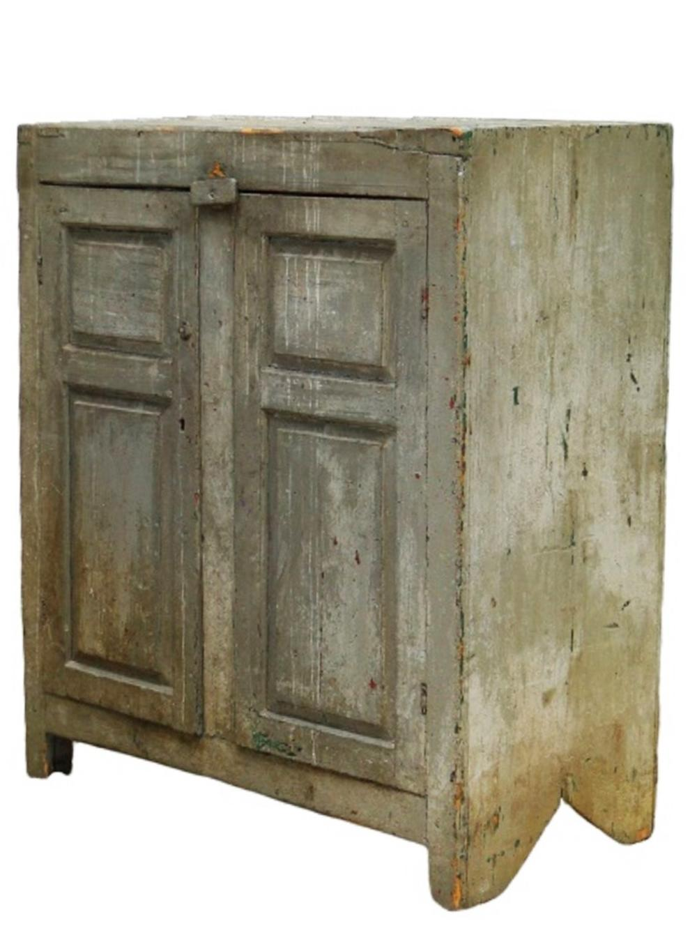 18TH C TWO DOOR PAINTED CUPBOARD