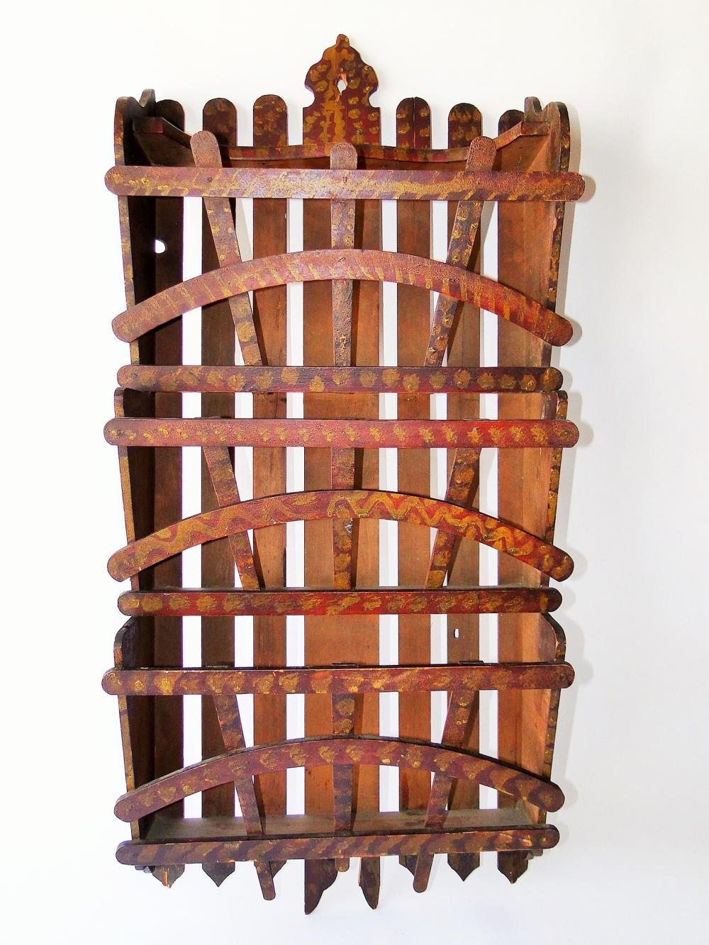 19TH C FOLK PAINT DECORATED WALL RACK