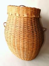 Lot 18: 19TH C LARGE WOVEN FEATHER BASKET