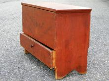 Lot 22: 18TH C RED PAINTED CHILD'S BLANKET CHEST