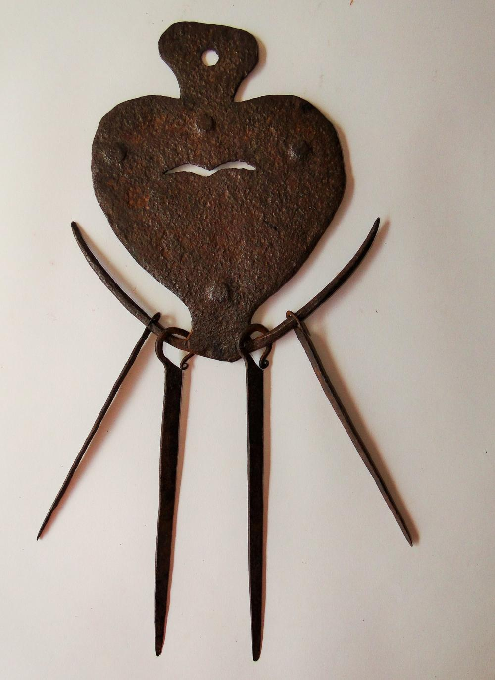 18TH C IRON HEART SKEWER SET