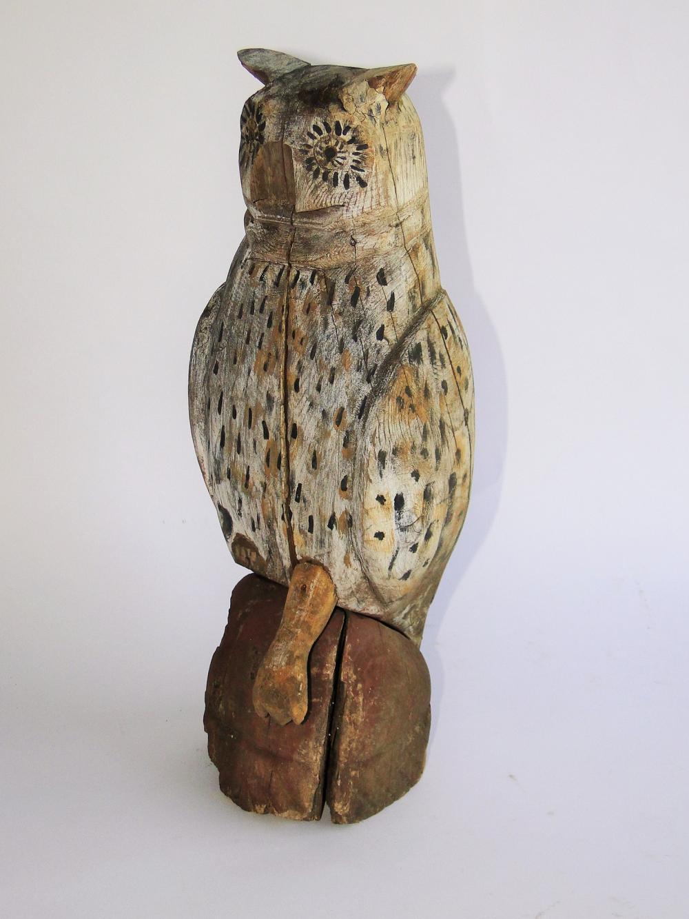 19TH C FENCE POST DECOY OWL