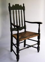 Lot 42: TWO CHAIRS BANNISTER BACK ARM CHAIR,LADDERBACK