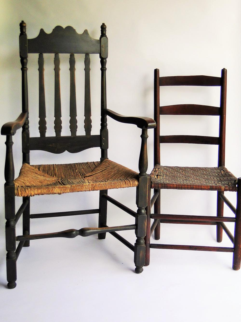 TWO CHAIRS BANNISTER BACK ARM CHAIR,LADDERBACK