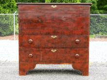 Lot 50H: 19TH C GRAIN PAINTED TWO DRAWER BLANKET CHEST