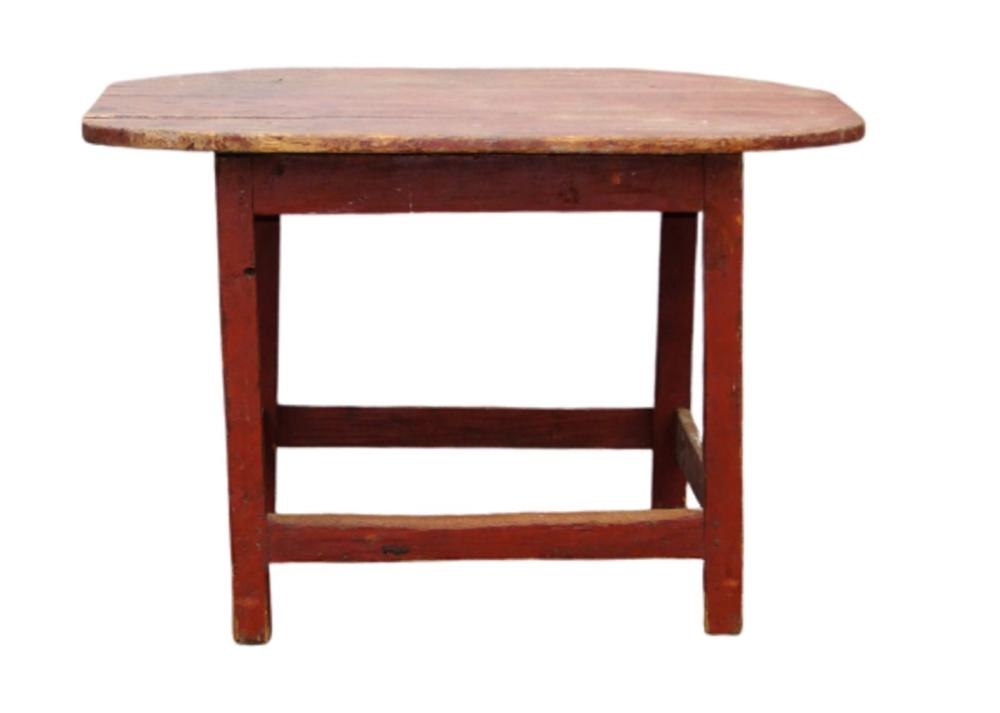 18TH C STRETCHER BASE DINING TABLE