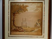 Lot 64: NEEDLEWORK SAMPLER OF GOVERNOR CARVER'S CHAIR