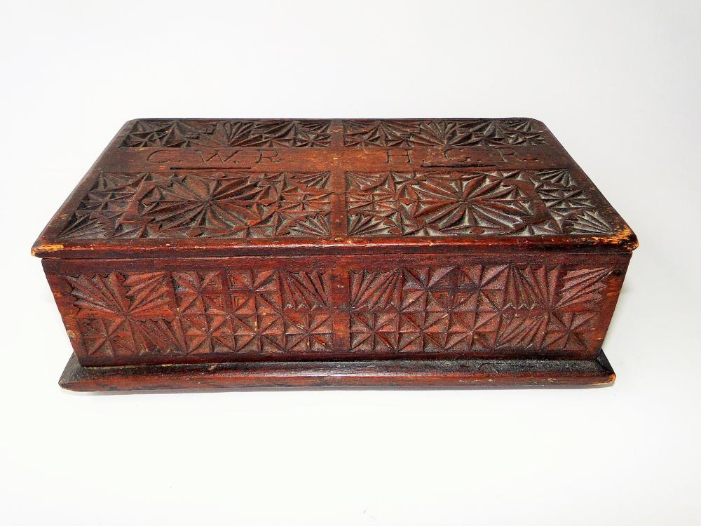 18TH C FRIEZE CARVED POOR BOX