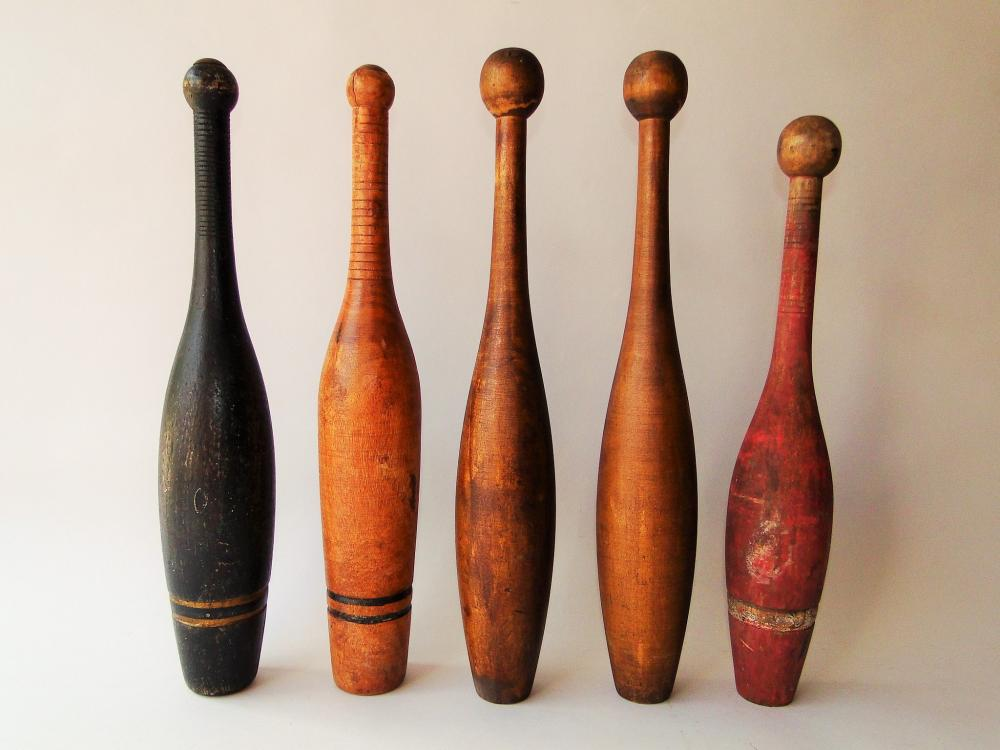 LOT OF FIVE 19TH C INDIAN CLUBS