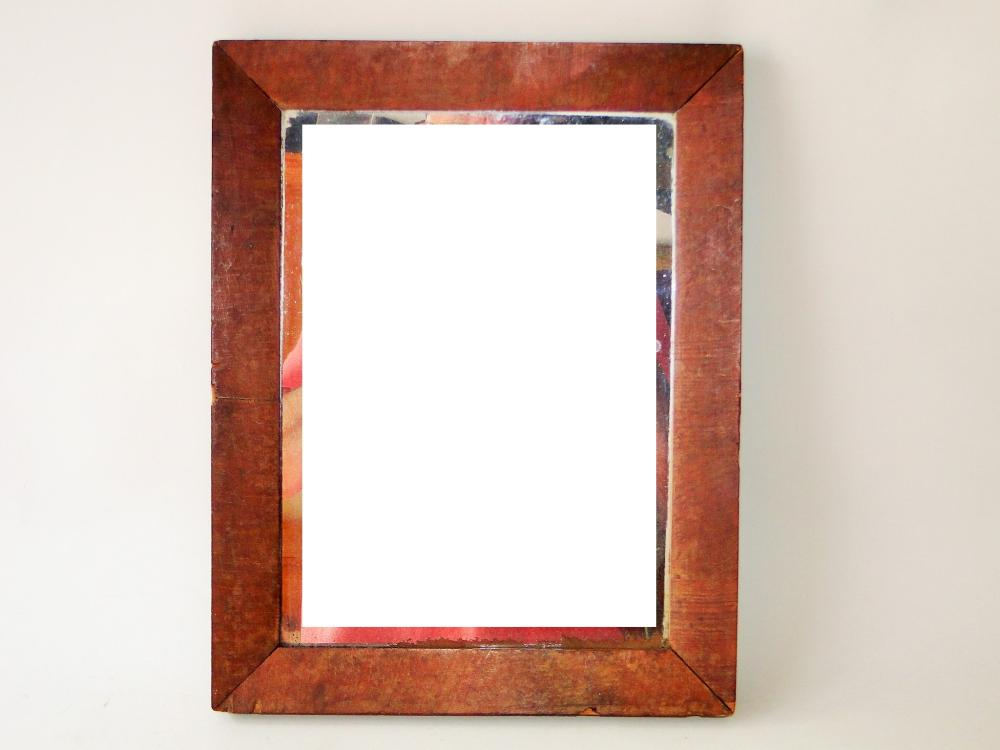 EARLY MIRROR IN PAINTED FRAME
