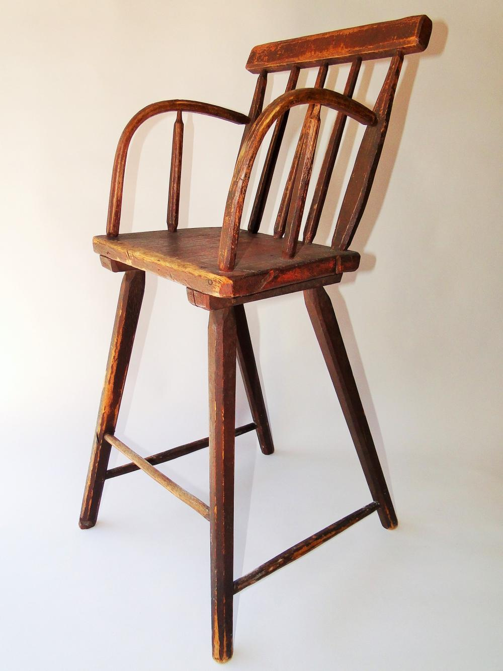 Lot 83: 18TH C RED PAINTED HIGH CHAIR