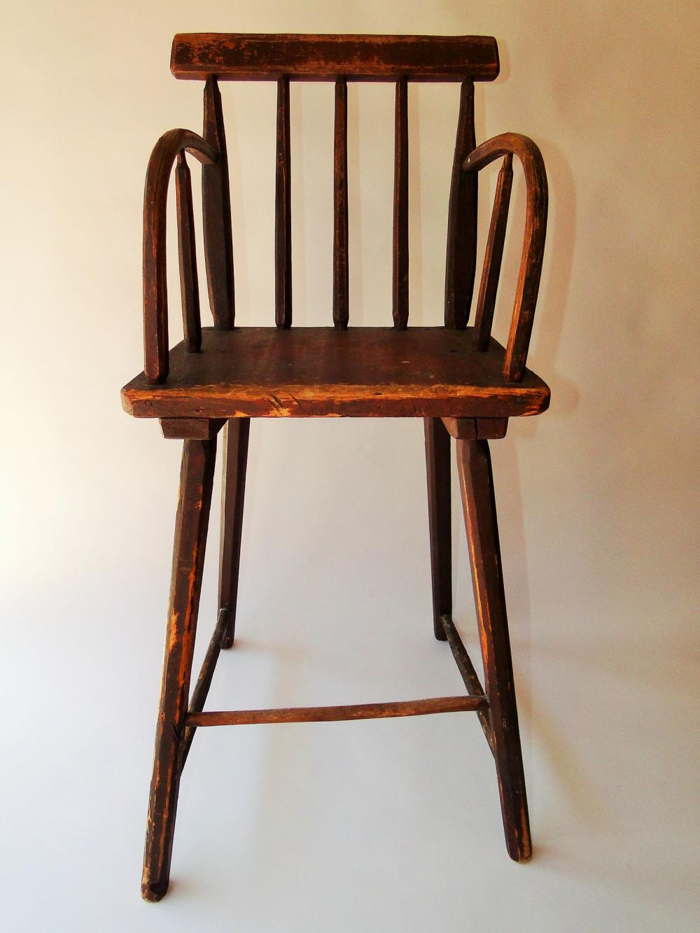18TH C RED PAINTED HIGH CHAIR