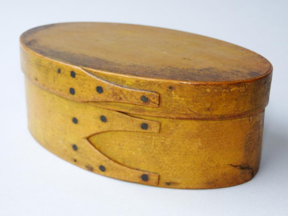 Lot 87: C 1840 SHAKER OVAL YELLOW PANTRY BOX
