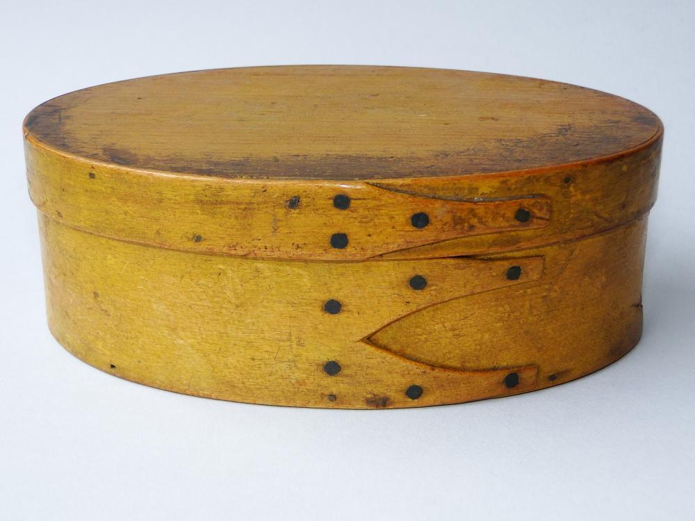 C 1840 SHAKER OVAL YELLOW PANTRY BOX