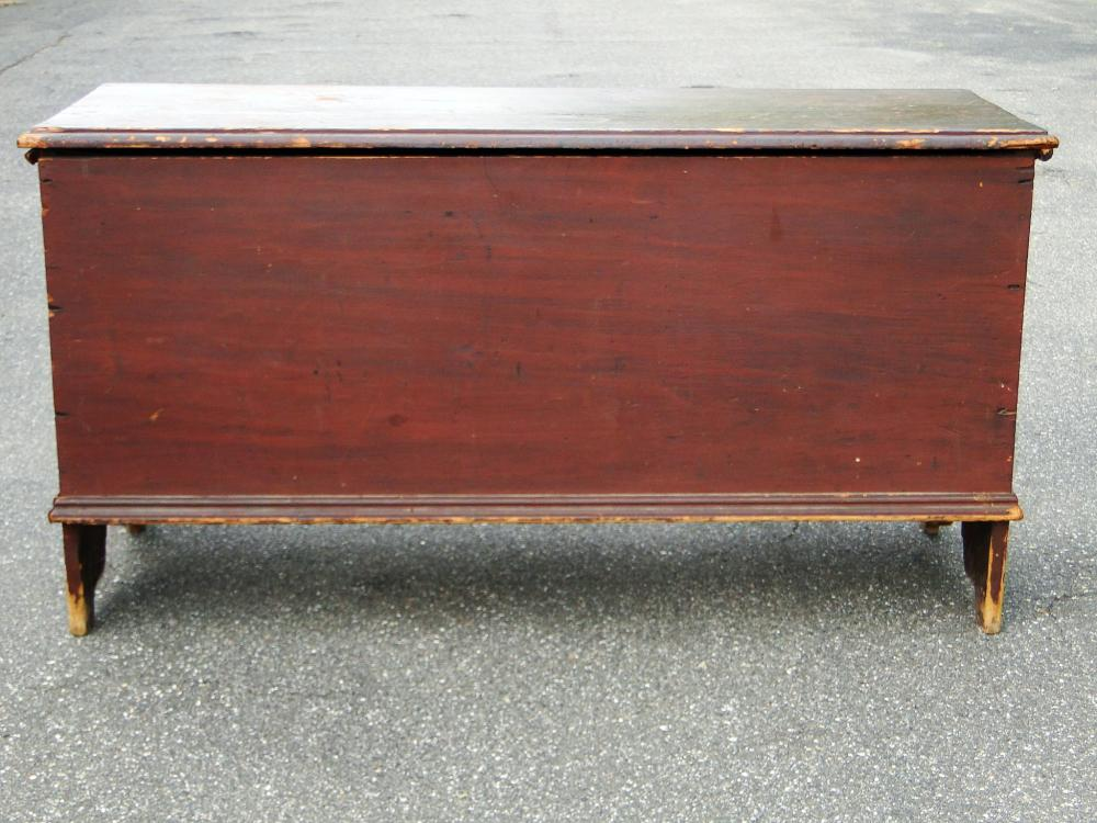 Lot 92: EARLY RED PAINTED BLANKET CHEST