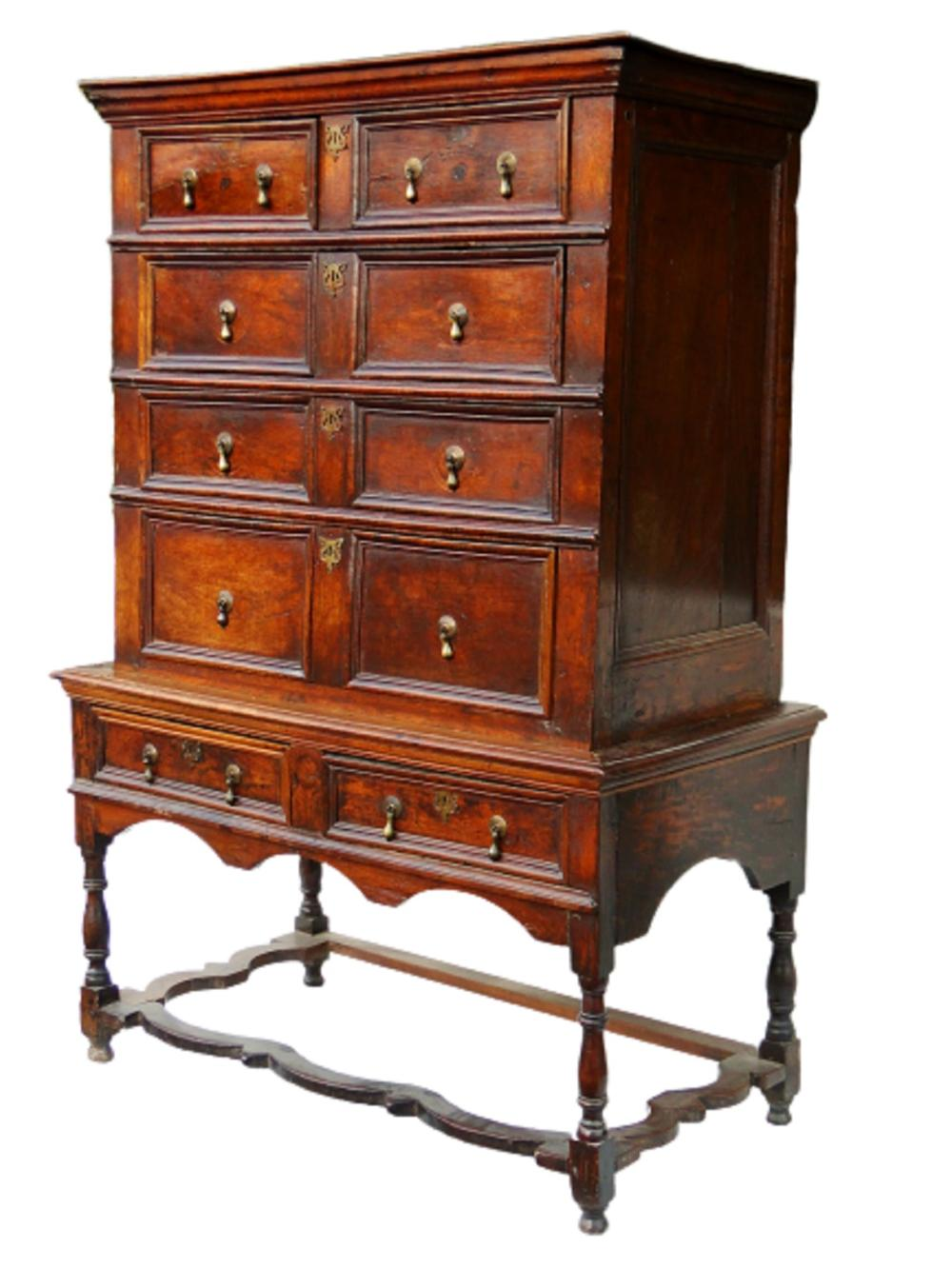 Lot 95: EARLY WILLIAM AND MARY HIGHBOY