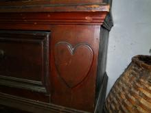 Lot 96: RARE 18TH C HEART DECORATED KAS