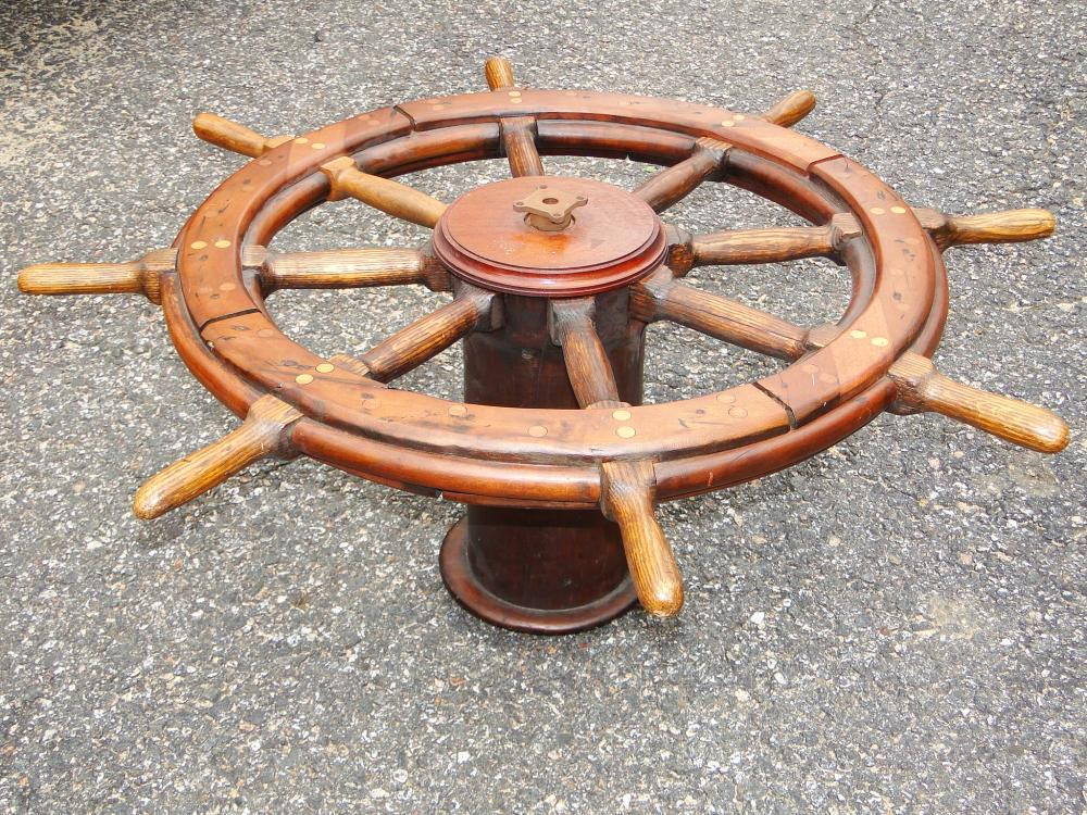 ANTIQUE SHIPS WHEEL WITH BASE