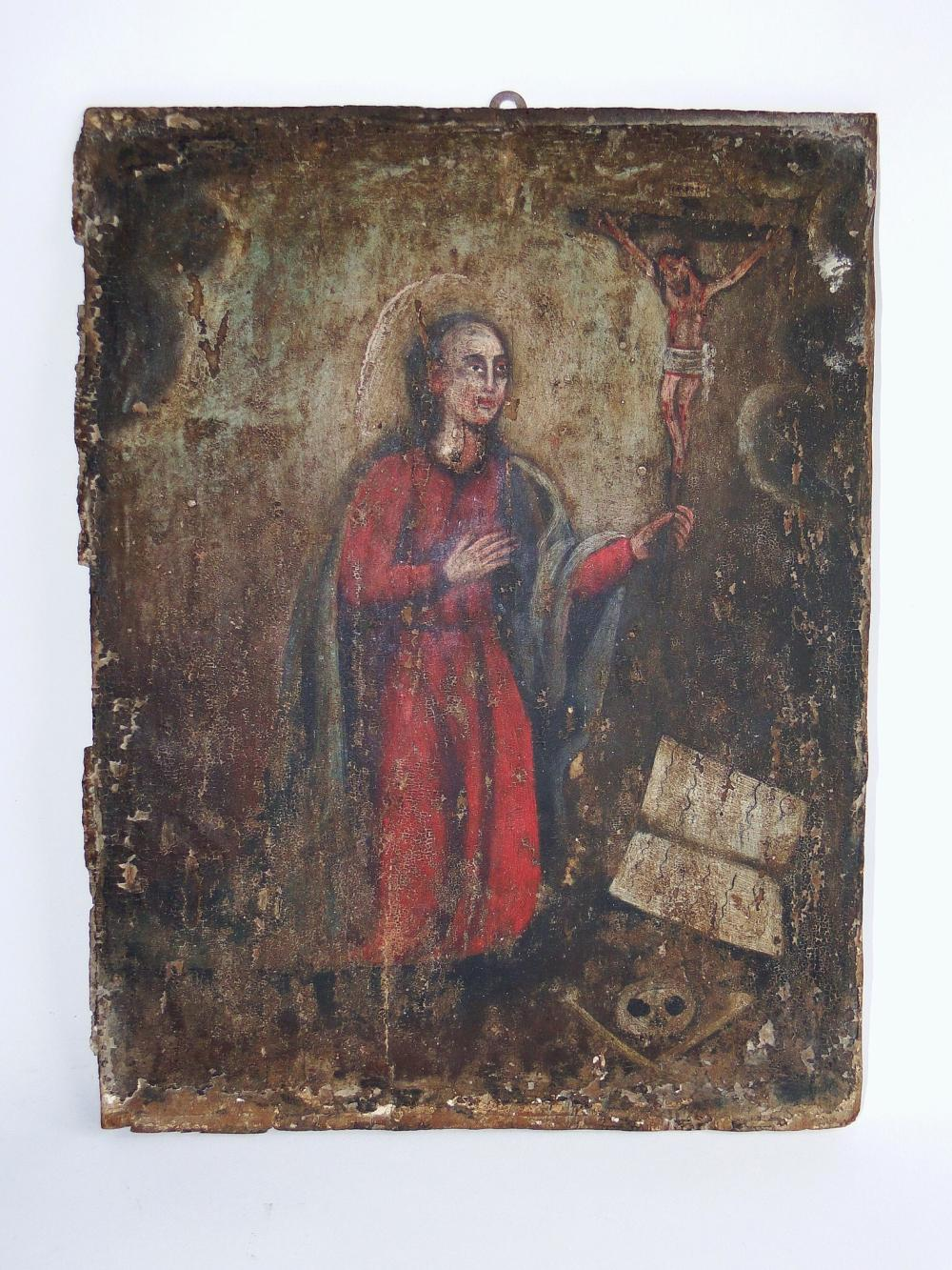 EARLY 17TH C RELIGIOUS PAINTING ON CARVED WOOD PANEL
