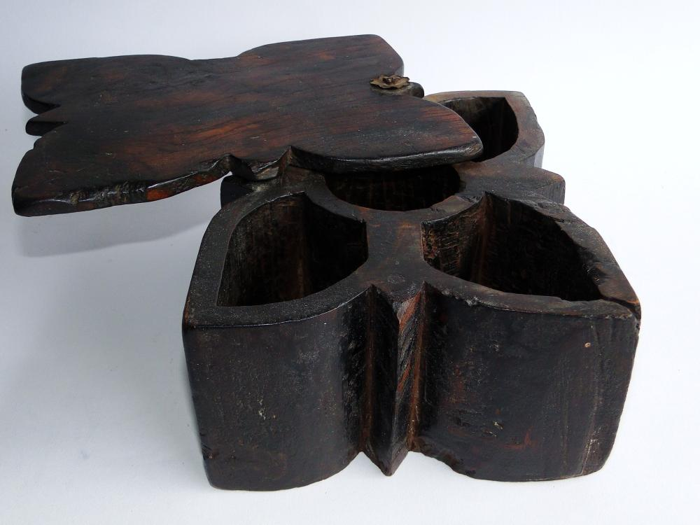 18TH C CARVED SPICE BOX